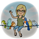Ms. van Schaik's bitmoji sitting on a telephone wire with birds and waving hello