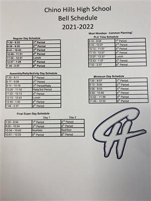 CHHS Bell Schedule 2021-2022