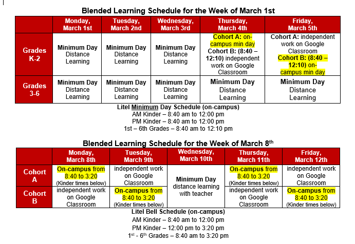 Blended Learning Schedule for the Week of March 1st and March 8th