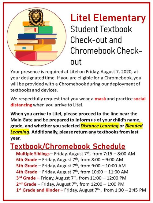 Student Textbook & Chromebook Check-out Schedule