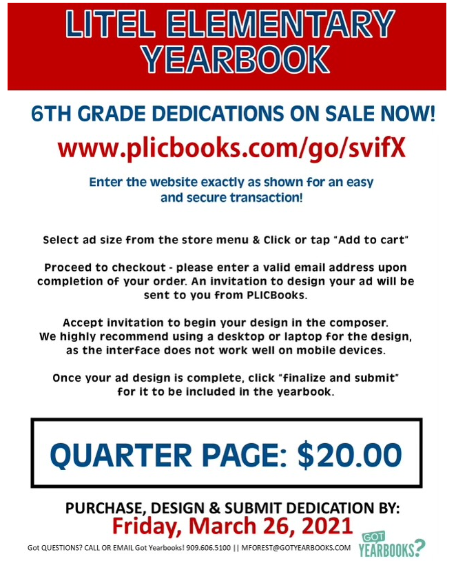 6th Grade Dedications on Sale Now!!