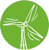 wind turbine with green background