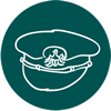 Policeman's hat on teal background