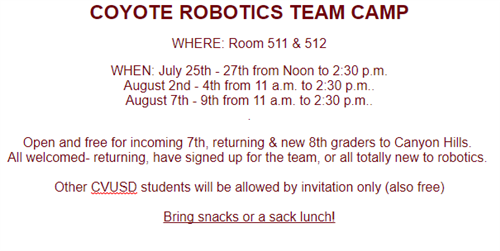 robotics team camp