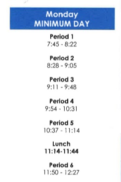 First Day of School Bell Schedule - August 10, 2020