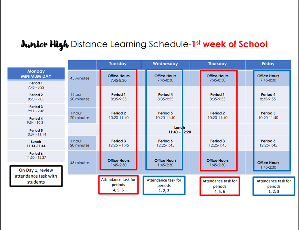 Schedule for the First Week of School