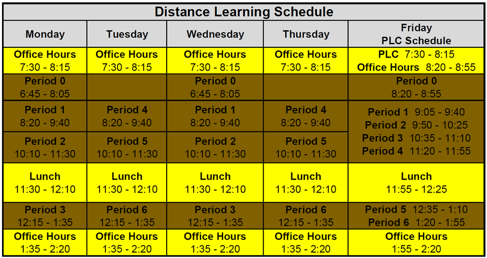 FULL TIME DISTANCE LEARNING SCHEDULE