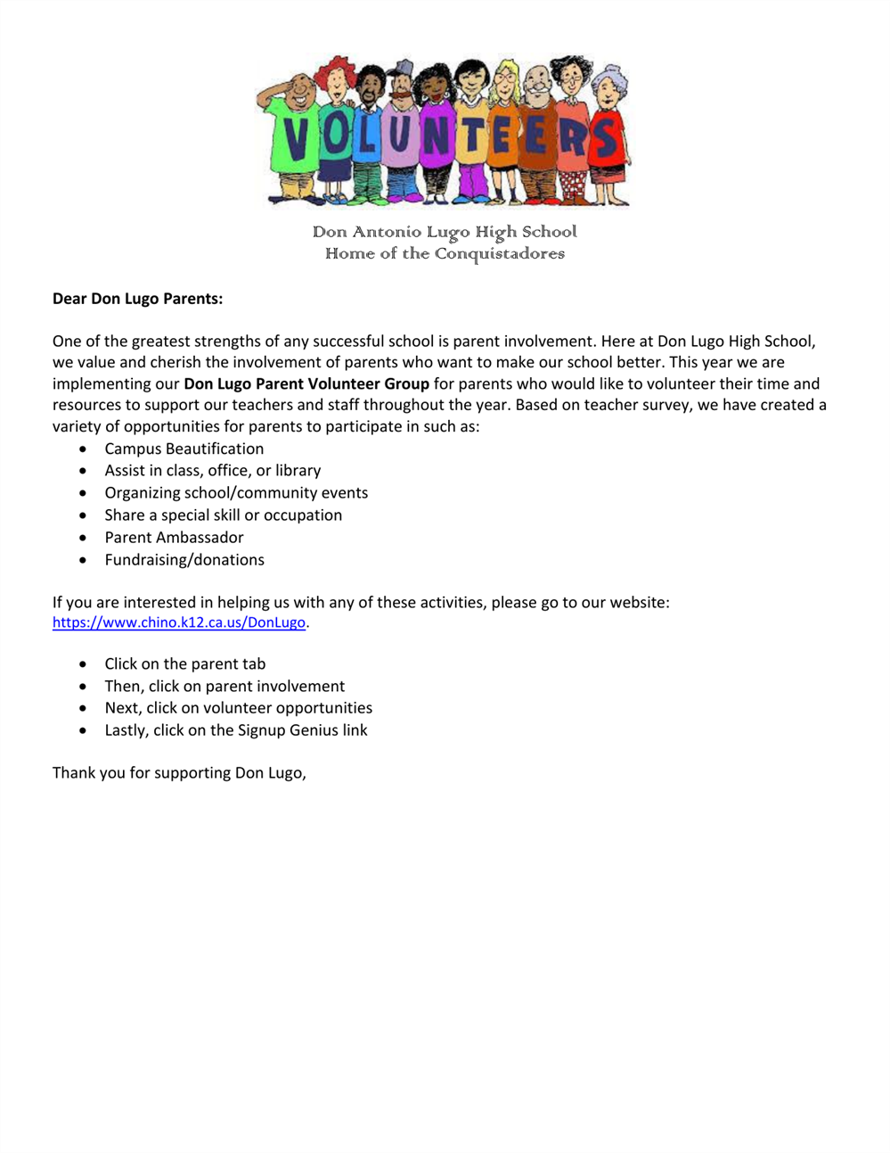 Don Lugo Parent Volunteer Group