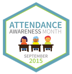 Attendance Awareness month logo featuring three students sitting at their desk