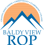 Blady View ROP logo featuring mountain peaks and a rising sun