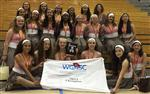 Group photo of Canyon Hills Junior High color guard, holding winning banner