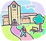 Illustration of student with backpack on walking up to college building