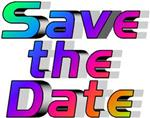 The words Save the Date, with each letter in different color