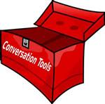 Open red toolbox with the words Conversation Tools on the front