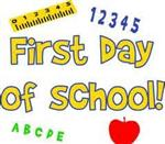 Illustration of ruler, numbers, alphabet letters and apple surrounding the words First Day of School!