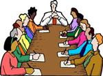 Illustration of 10 people sitting at a table, having a meeting