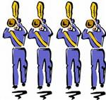 Illustration of four marching band members, playing trumpets