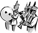 Illustration of four marching band members, playing drum, trumpet, clarinet, flute