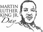 Illustration of the face of Martin Luther King Jr. with the words Martin Luther King Jr. Day