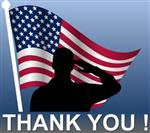 Silhouette of a man saluting an American flag with the words Thank You!