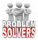 Illustration of three figures with arms crossed standing behind the words Problem Solvers