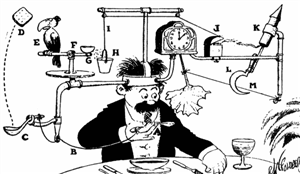 Cartoon featuring a crazy machine that uses several different movements to cool the man's soup.