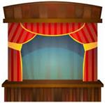 Illustration of a stage with opened red curtains