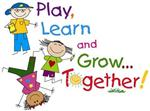 Illustration of children playing, with the words Play, Learn and Grow...Together!