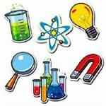 Artwork of chemistry beakers, magnet, magnifying glass, nuclear symbol and other items related to science