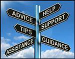 Directional sign with the words advice, help, tips, support, assistance, guidance