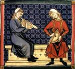 Medieval art of two musicians