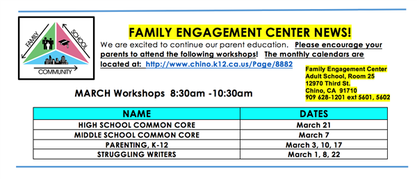 Family Engagement Center March Workshops