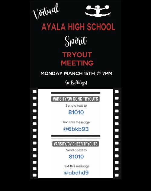 Virtual Tryout Meeting on Monday March 15th at 7pm. See Remind Codes to access Zoom Link