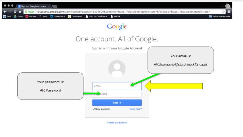 Screenshot of Google Classroom log in page