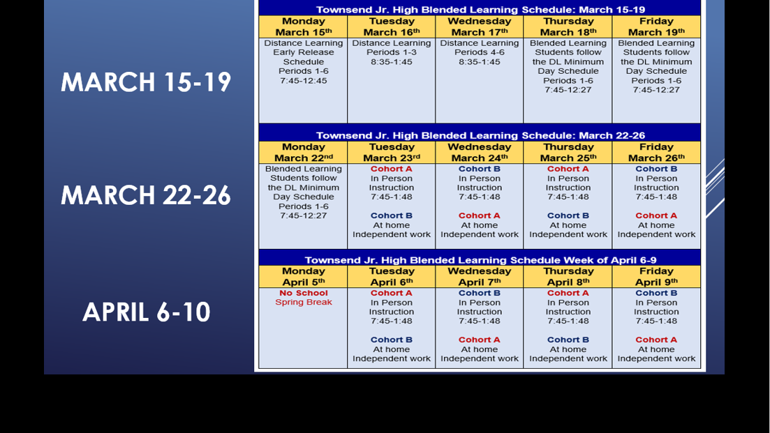 Blended Learning Transition Schedule: March 15 - April 9