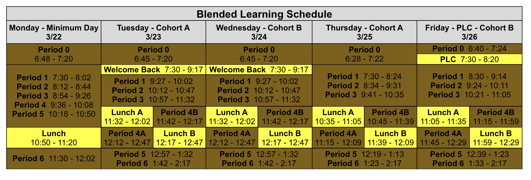 Blended In-Person Schedule for the Week of 3/22-3/26