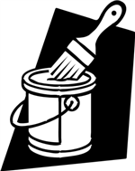Illustration of a paint can and paint brush