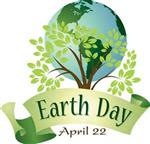 Earth Day logo of earth and tree underneath it