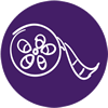Film reel on purple background