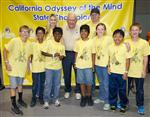 Photo of seven elementary students, three adults, standing in front of California Odyssey of the Mind State Champions banner