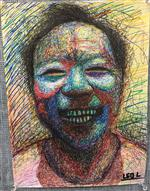 Colorful drawing of smiling child