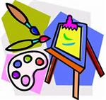 Illustration of art palette, brushes, easel