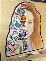 Photo of drawing of adolescent girl's face, with one side a collage of symbols
