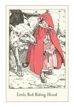 Vintage illustration in book of Little Red Riding Hood and the wolf