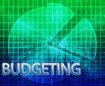Illustration of a circular budgeting graph shaped like a pie, with the word Budgeting across the bottom.