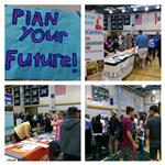 Collage photo of College Night at Chino Hills High, students meeting with college representatives