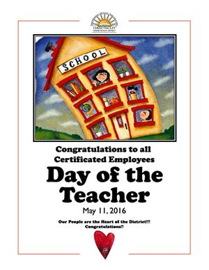 Day of the Teacher flyer for May 11, 2016