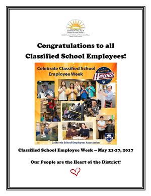 Flyer congratullation all Classified School Employees on Classified School Employee Week, May 21-27, 2017