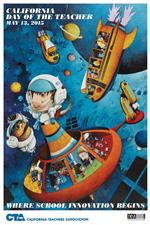 California Day of the Teacher poster featuring characters exploring space