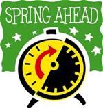 Art of an alarm clock with the words Spring Ahead